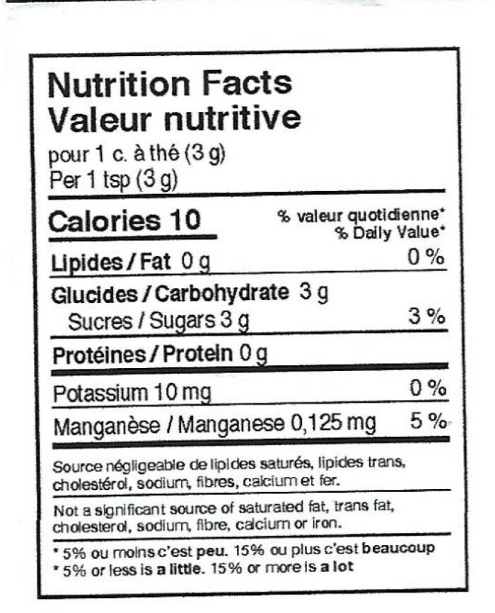 nutritional facts label for maple sugar product