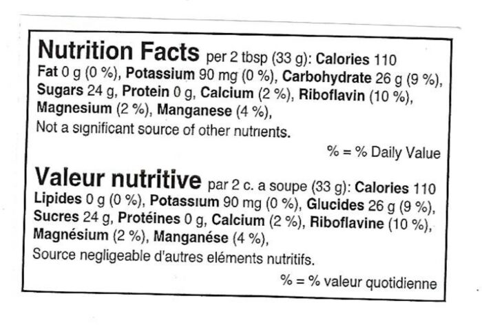 nutritional facts label for maple butter product